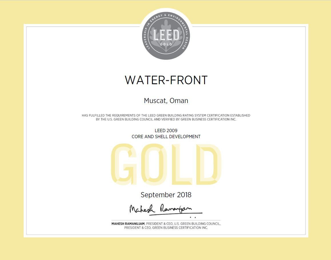 WATER-FRONT awarded prestigious LEED® Gold Certification