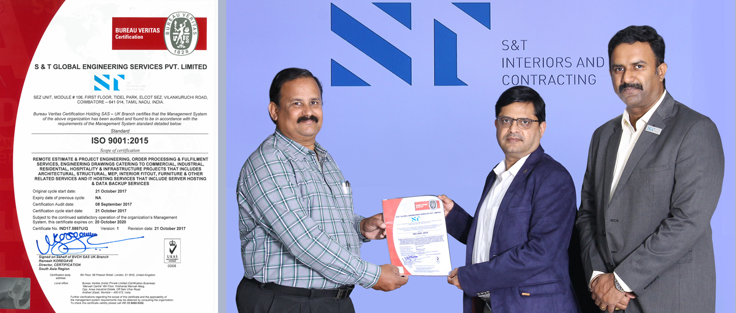 S&T Coimbatore awarded ISO 9001:2015