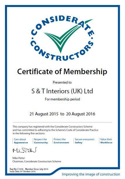 Considerate Constructors Certificate of membership