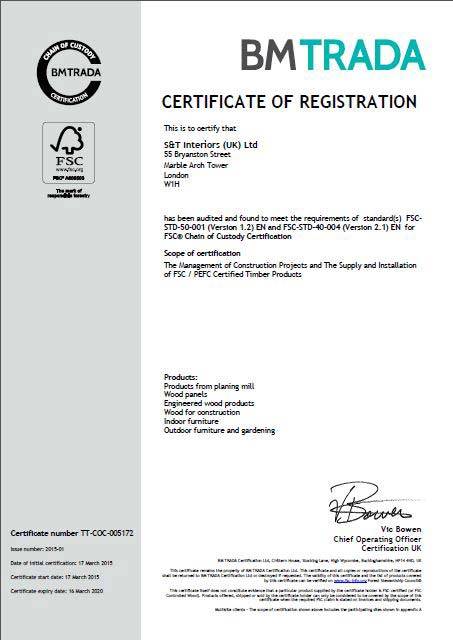 FSC - BM Trada - chain of custody certificate