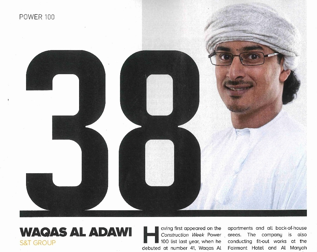 S&T Group Vice Chairman, Waqas Al Adawi has been ranked #38 (up from #41 in 2017) on Construction Week's 2018 list
